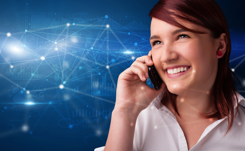 Person talking on the phone with networking concept