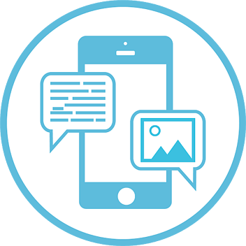 A flat 2D illustration of a smartphone with a large screen that has two text message bubbles overtop of it.
