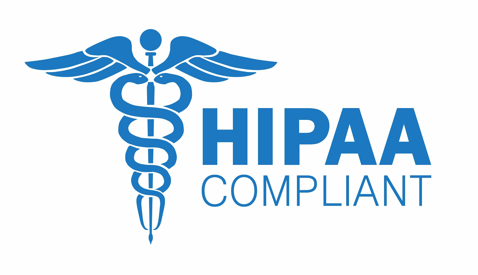 "Image of a blue caduceus next to the words ""HIPAA compliant"""